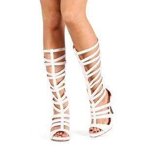 Qupid Gianna-25 gladiator knee high heels